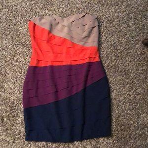 Gianni Bini strapless colorblock dress